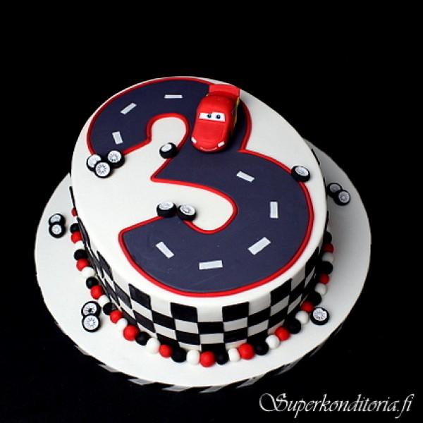 Autot kakku 3-vuotiaalle