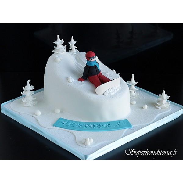 Lumilautailija-kakku