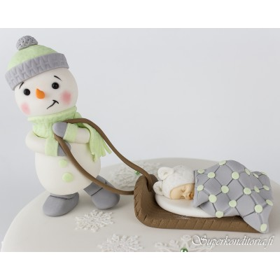 Lumiukko ja vauva kakkukoriste