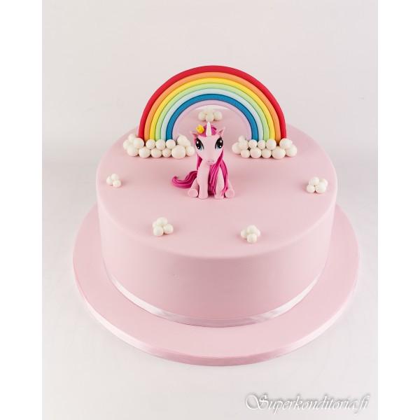 Poni ja sateenkaari kakku