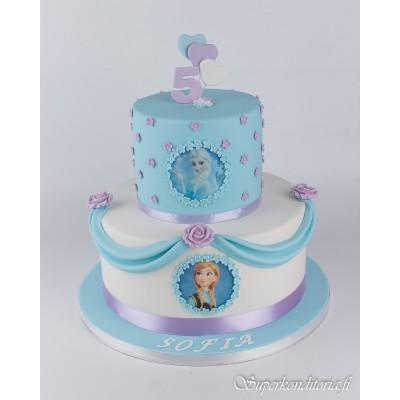 Frozen Anna ja Elsa kakku