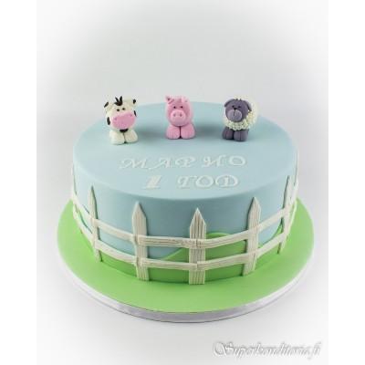Maatilan eläimet kakku